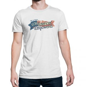 Model wearing white 1776 American Empowered t-shirt.